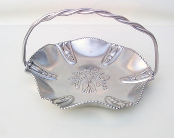 Vintage Silver Basket, Hammered Aluminum Tray, Metal Basket, Aluminum Bowl, Candy Dish With Handle