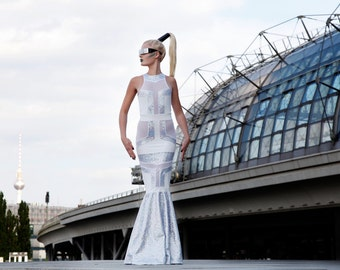 Futuristic Wedding Dress, Fishtail Gown, White Holographic Spandex, Geometric, Alternative Bride, Burning Man Costume, by LENA QUIST
