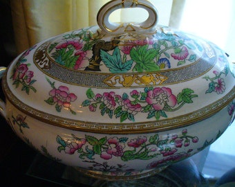 PLEASE READ CAREFULLY - Sold As Is - Hand Painted Vintage SoupTureen Asian Style Ceramic Chrysanthemums Covered Dish Dining Entertaining