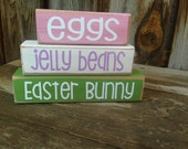 EASTER bunny, egg,  holiday stacking wood home decor seasonal blocks - with vinyl lettering