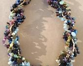 Multistrand gemstone necklace, semiprecious stone necklace, statement necklace, colorful, multi color, natural stone: Galician Evening