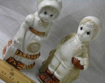 Boy and Girl Figurine Set of 2 Sweet with Umbrella, Basket, Ruffled Purse and Long Dress Porcelain CeramicFigurines