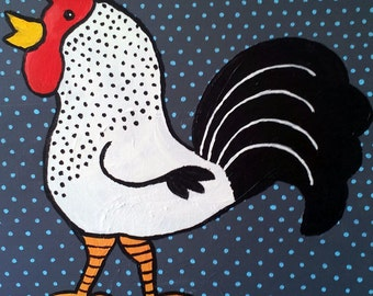 Folk Art Rooster Painting