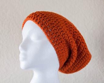 Slouchy Hipster Beanie, SALE 40% OFF, Women's Orange Slouchy Hat, Unisex Beanie