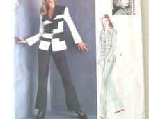 Myrene De Premonville Pantsuit Pattern, Vogue 1525, Womens Jacket and Pants, Contrast Bands, Size 14 - 18, Bust 36 - 40, 1990s, UNCUT FF