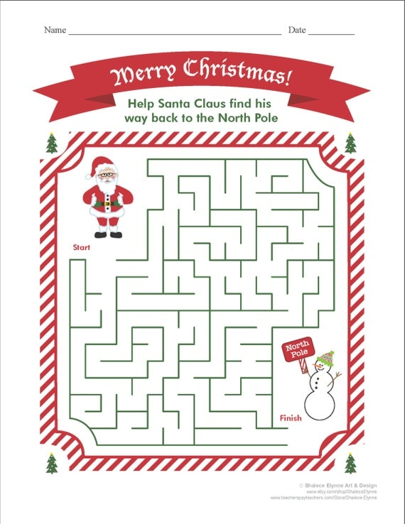 Christmas MAZE Printable Game, Instant Download