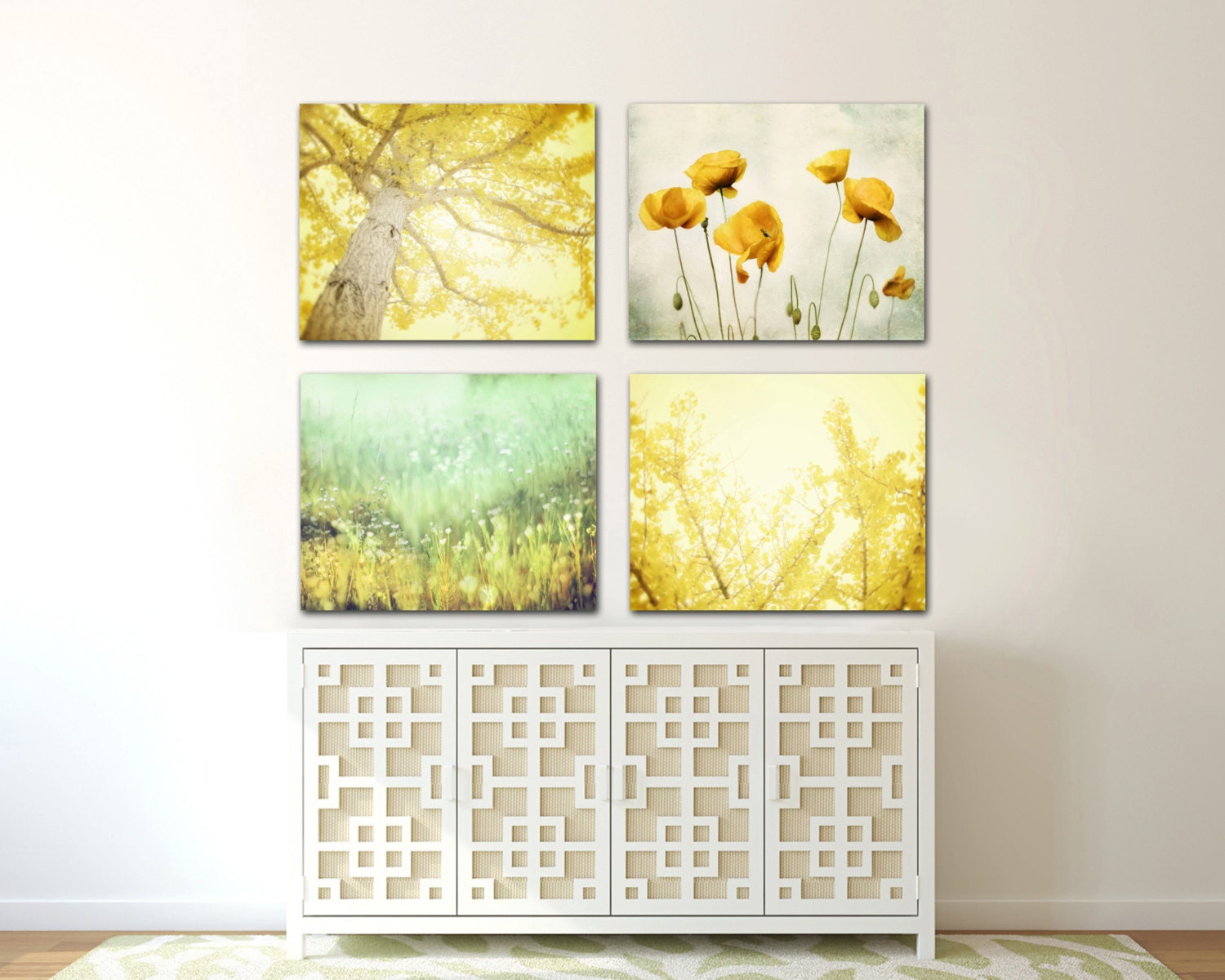 canvas wall art set of 4 yellow wall art by. Black Bedroom Furniture Sets. Home Design Ideas