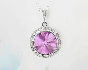 Lilac Purple Necklace Crystal Rivoli Rhinestone Necklace Lilac Purple Necklace Birthday Gift Idea Prom Bridesmaid Jewelry