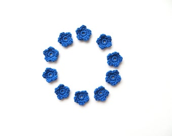 Crochet Flower Appliques, Tiny Small Cute Flowers, Decorative Motifs, Bright Blue, Set of 10, Embellishments, Scrapbooking