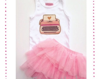 READY TO SHIP Typewriter Tank and Skirt 3t