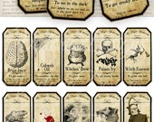 Small Halloween Apothecary Labels printable potion paper craft hobby crafting scrapbooking instant download digital collage sheet - VD0125
