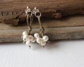 Pearl Earrings / Linen Hemp Earrings / Dangle Earrings / 925 Sterling Silver / Rustic Wedding