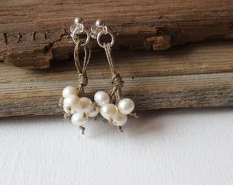 Pearl Earrings / Linen Hemp Earrings / Dangle Earrings / 925 Sterling Silver / Rustic Wedding