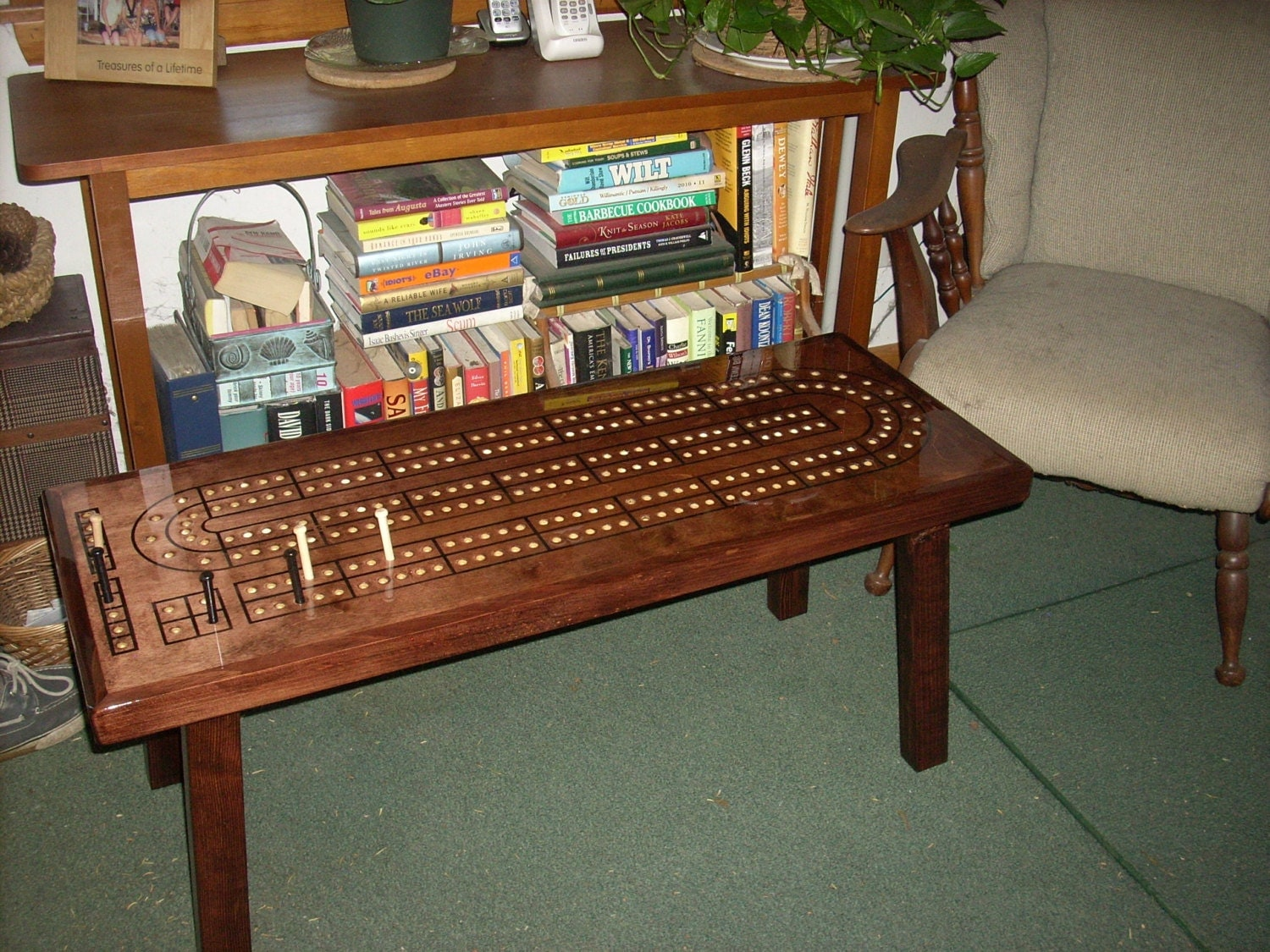 Cribbage table cribbage board coffee table mahogany minwax for Table plan board