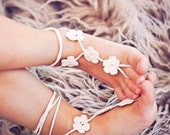 Toddler Barefoot Sandals- Baby Foot Jewelry- Beach Wedding- Footless Sandals- Barefoot Wedding Sandals- Flower Girl Gift- Birthday Gift