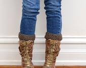Brown Knit Boot Toppers - Design Patterned Top and Bottom Boot Cuffs