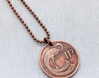 20th birthday gift. 1996 COIN NECKLACE. Celtic bird. Irish harp. Ireland necklace. eire. peacock. copper coin. coin jewelry.