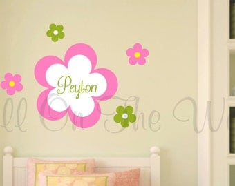 Wall Decal Girl Name Vinyl Lettering Baby Girl Nursery Flowers Decor Personalized Wall Art Kids Children Teen