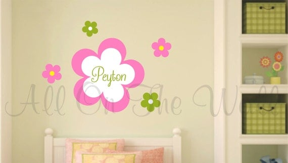 Flower Wall Decals Girls Name Decal Personalized Wall Decals Flower Set Vinyl Wall Decal Baby Girl Nursery Decal Girls Bedroom Decor