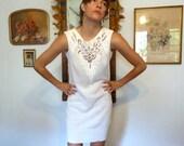 SALE--20% OFF Listing Price--Nancy Johnson Vintage white knit dress size 4 to 12