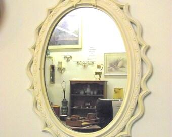 "Shabby White Tassels & Ribbons Mirror Ornate Framed Oval - RARE Design - Big 31"" x 20"" - Burwood"