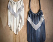 Chevron Leather Fringe Necklace