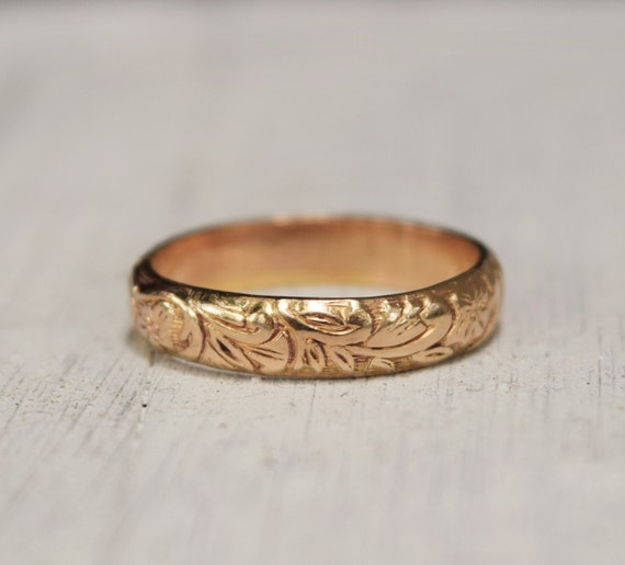 gold floral ring - gold band - 14K yellow gold fill - renaissance Wedding - gift for her  - boho ring - promise ring - vintage style band