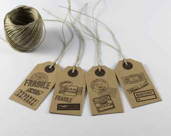 8 Rustic Gift Tags, Vintage Post Stamp Tags