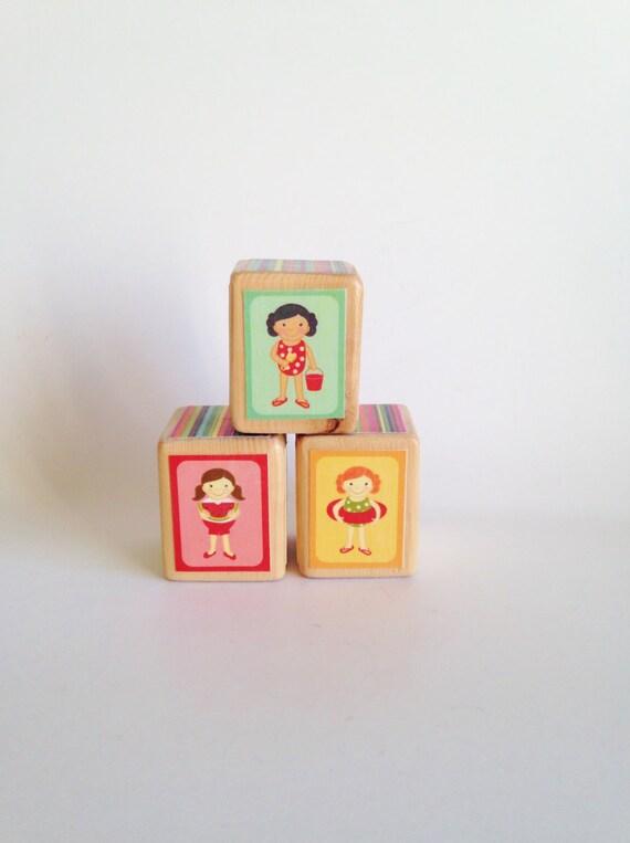 SALE. 40% OFF SALE - Wood baby Blocks. Baby Shower Decoration. Colorful Baby gift. Nursery Decor. Wood block set. Rainbow Toy. Under 20
