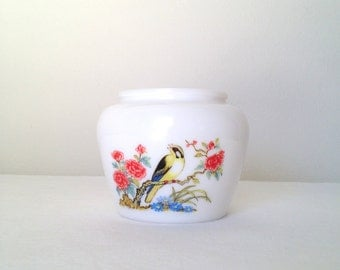 Avon Jar Vintage Dynasty Ginger Jar Goldfinch Flowers Milk Glass Vase