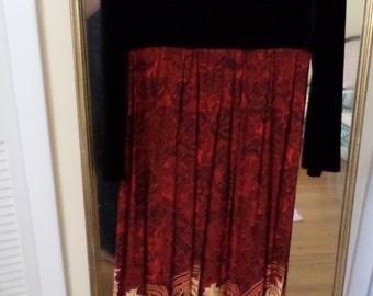 Carole Little, HIPPIE DRESS/VELVET/Tapestry Maxi Dress/Size 6/Long Sleeve/Gypsy/Stevie Knicks/Red/Orange/Cream/Black Velvet/Lace