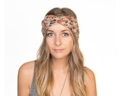 Nude Floral Jersey Knit Stretch Turban Headband Turband