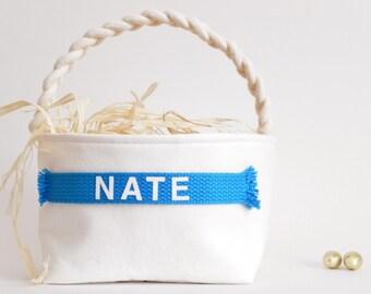 Personalized Easter Basket - Small Large - Boy Girl - Monogram Name - Egg Hunt, Spring Home Decor, Decoration - 14 Colors (Royal Blue Shown)