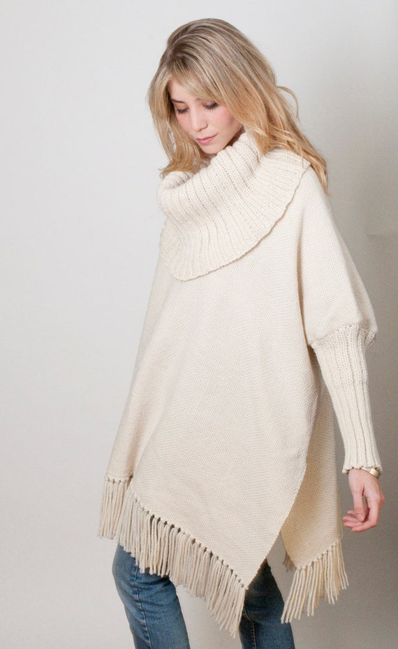 Oversized Loose sweater, Off White Poncho handwoven, Plus size wool cape coat, turtleneck Wrap poncho, Women Men fringed Poncho