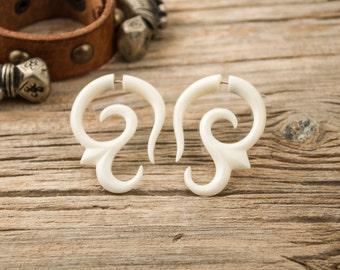 Bone Fake Gauge Bone Earring Spiral Flower white Bone Tribal Earrings - FG007 B G1