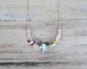 Pastel Necklace, Natural Stone Necklace, Colorful Necklace, Mixed Natural Stone, Gemstone Necklace, Color Block