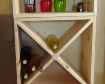 48 Bottle Wood Wine Rack w/ Barware Glass Holder Storage Furniture Solid Pine Bar