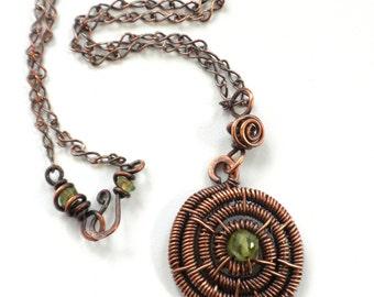 Peridot and Copper Spiral Weave Pendant