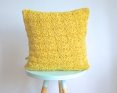 hand knitted cushion, yellow - No.2