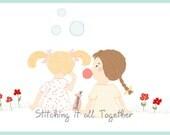 Blowing Bubbles - Little Girls - Digital Illustration - Unique Clipart