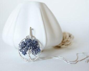 Tree of Life Necklace Iolite , Denim blue