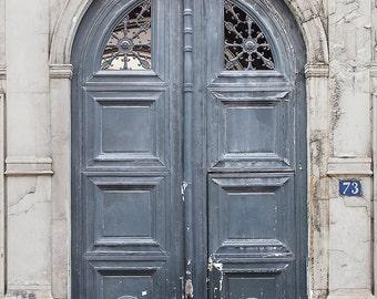 Paris Door Photography - Worn Grey Door, Paris Architecture Fine Art Print, Travel Photograph, Neutral French Home Decor, Large Wall Art