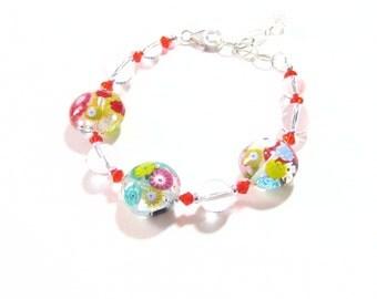 Murano Glass Millefiori Disc Silver Bracelet, Venetian Jewelry, Italian Bracelet, Colorful Glass Jewelry, Gifts For her, Millefiori Jewelry