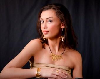 Gold plates bracelet gold and leather bracelet  black gold bracelet  Sunlight jewelry