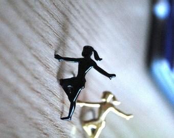 Figure Skating Studs -- Earrings, Winter Olympics, Black, Gold, Gymnastic Earrings, Dancer Earrings