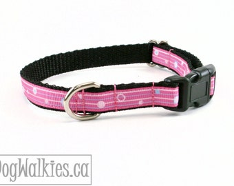 "Delicate Pink and Blue Striped Dots - Small Dog Collar - 1/2"" Wide (13mm) - your choice of style and size"