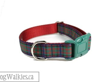 "MacDonald Tartan Dog Collar // 1"" (25mm) wide // Plaid Dog Collar // Quick Side Release or Martingale Collar // Choice of size and style"