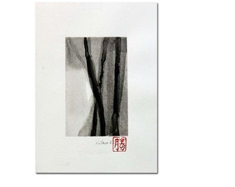 "Original black on white ink wash painting, zen minimalism, 'Four'  ink on 9"" x 12"" watercolor paper"