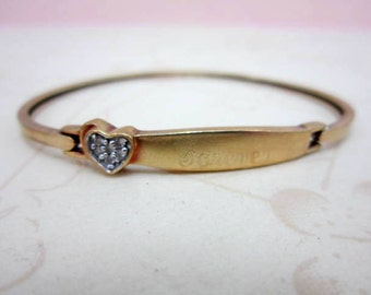 CLEARANCE SALE 10k gold and diamonds heart forever engraved bangle bracelet - diamond cluster heart - open face hook clasp bangle