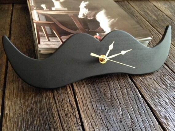 Mustache Clock - Wall Clock - Wood Mustache Clock - Mustache - Wooden Clock